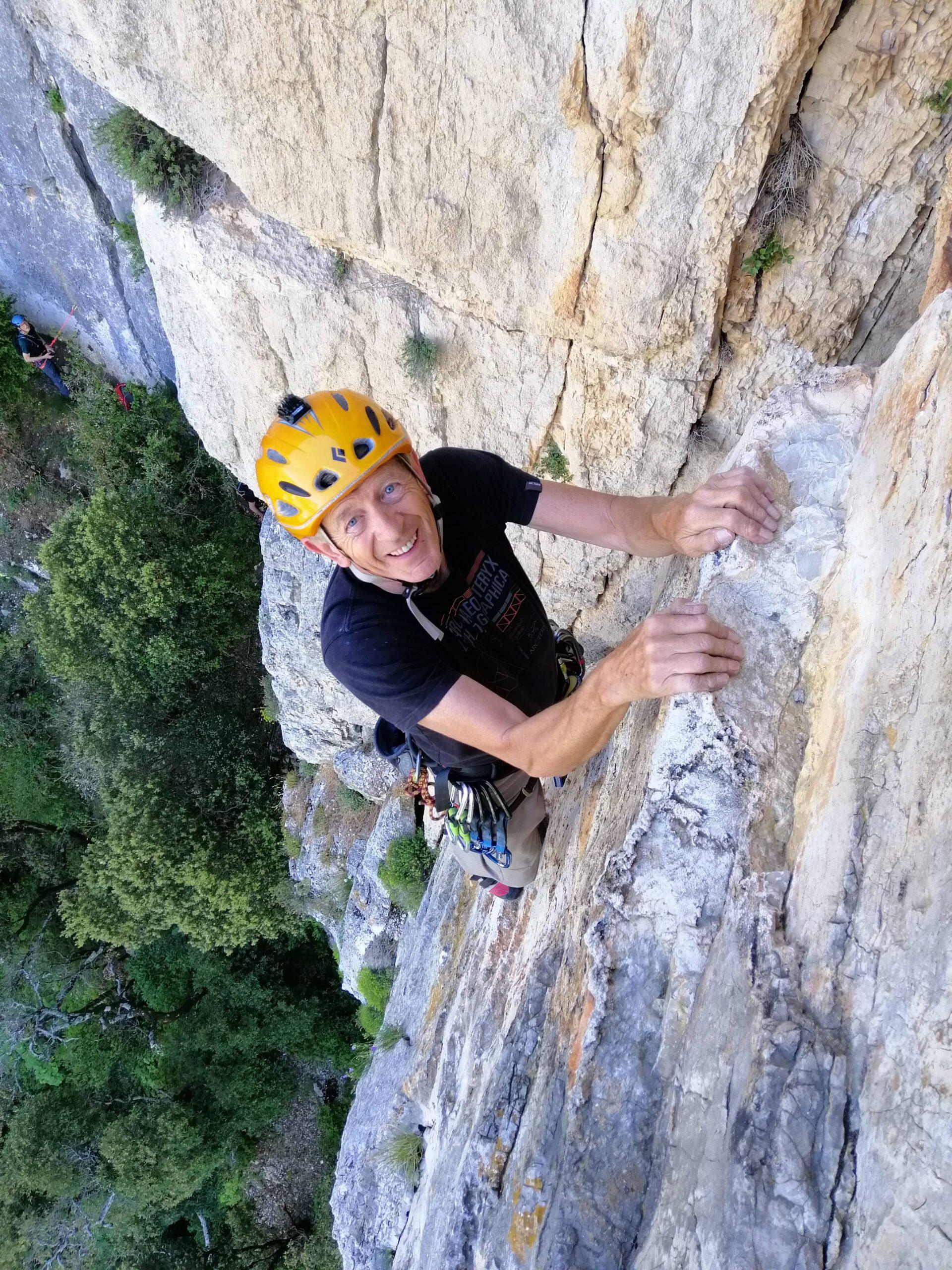 Cris content de grimper au verdon